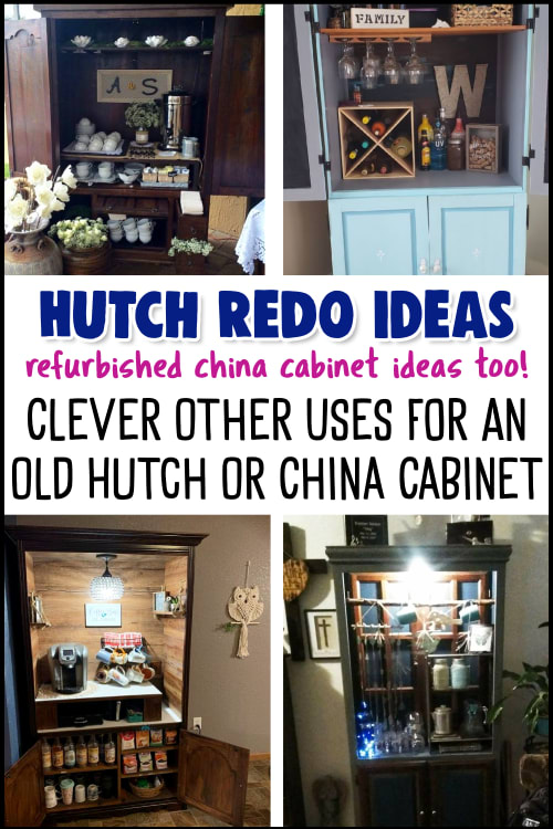 Hutch ReDo Ideas and Other Uses for Dining Room Hutch Cabinets.  Beautiful repurposed china cabinet ideas and hutch makeover before and after pictures.  These china cabinet redo ideas are brilliant ways for converting a china cabinet or dining room hutch into a coffee bar, storage or beautiful upcycled furniture.