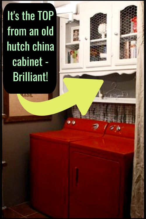 Repurposed China Cabinet Ideas - wondering what to do with TOP half of hutch?  Take a look at this clever DIY storage cabinet idea for your laundry room - the shelves and cabinets are a simple hutch redo idea.  See OTHER uses for dining room hutch cabinets here...
