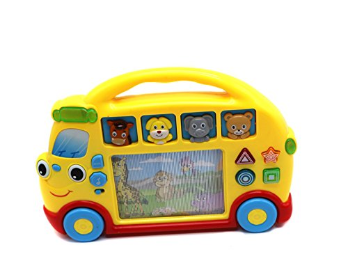 Ver-Baby Childrens Kids Activity Table Center Musical School Bus for Toddlers to Learn & Play with Lights, Sound