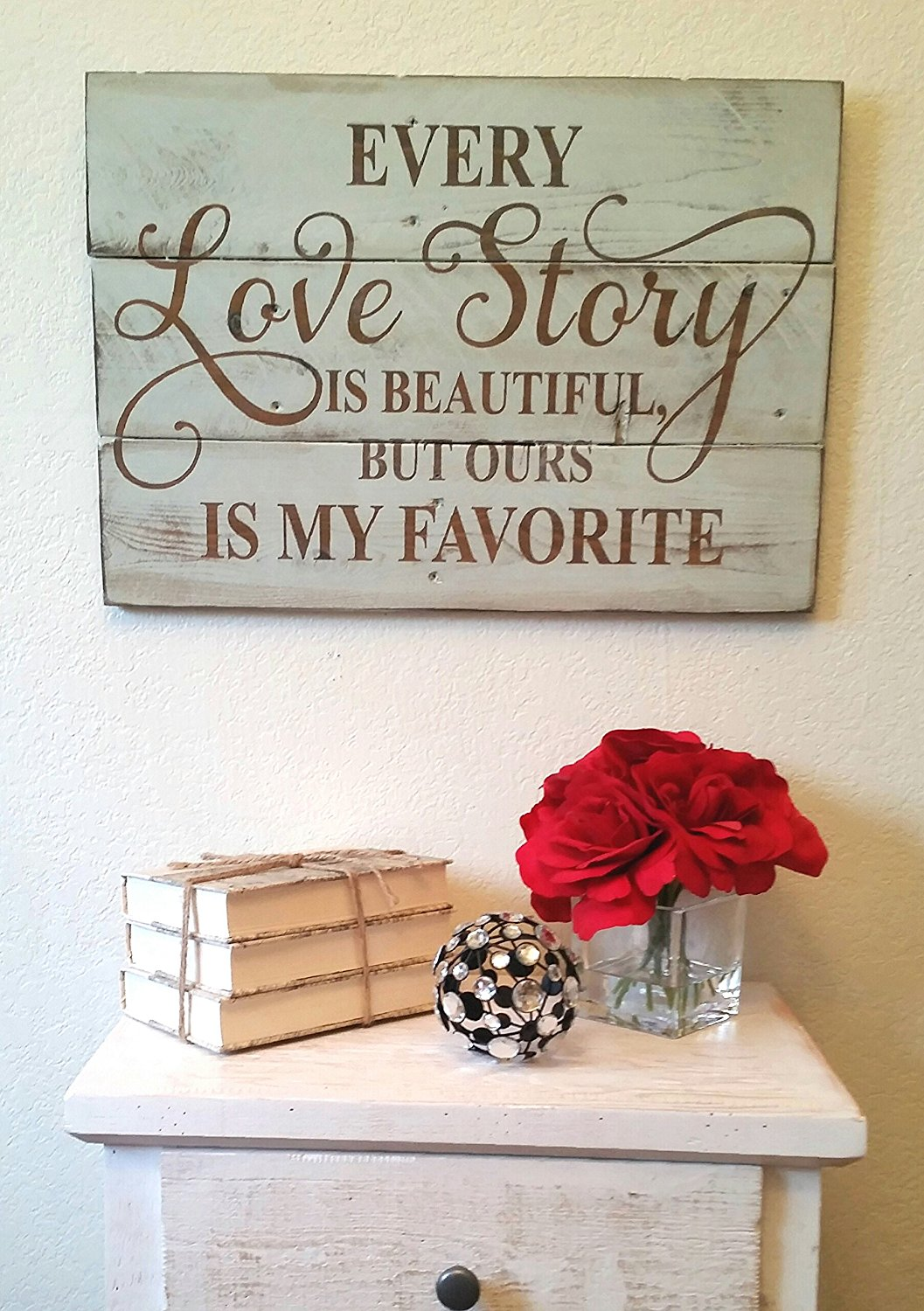Love story quote wall hanging - cute for a rustic / shabby chic style bedroom or any room - diy rustic decor idea