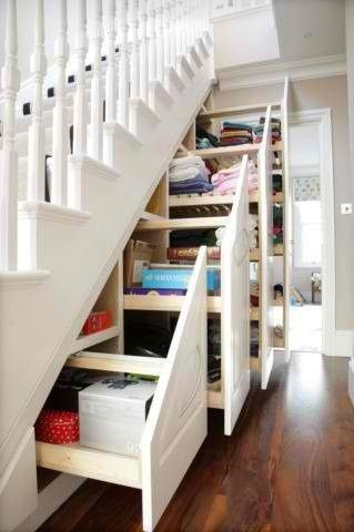 Creative storage ideas for small spaces.  LOVE this idea to create storage under the stairs.