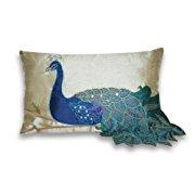 Thro by Marlo Lorenz 4183 Fancy Peacock 12 by 20-Inch Pillow Multi