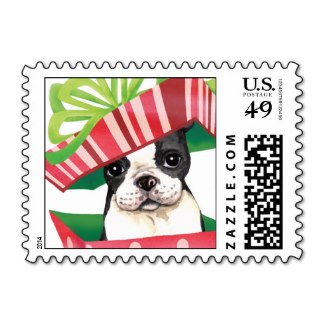 Boston Terrier Christmas Card Postage Stamps