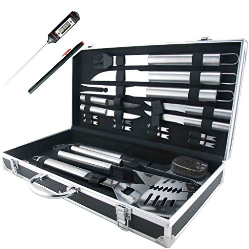Teikis® 19-Piece Deluxe Stainless Steel BBQ Tool Set With Storage Case - Includes Spatula with Bottle Opener, Fork, Tongs, Knife, grill&Basting Brush, Steak Knives, Corn Holders, Digital Thermometer and Storage Case