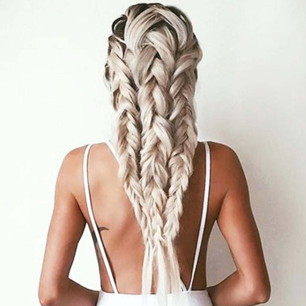 Multi-braid ponytail hairstyles for long thick hair