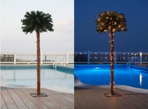 5 Ft Tall Lighted Sculpture Tinsel Palm Tree w/ 70 Clear Lights
