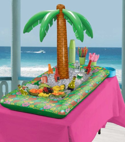 Amscan Party Perfect Hawaiian Luau Inflatable Palm Tree Buffet Cooler, Multi Color, 4 Feet