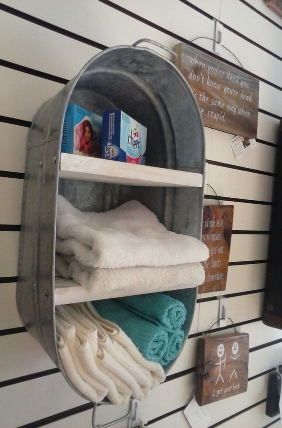 DIY Upcycled Washtub Shelves for Outhouse/Country Bathroom