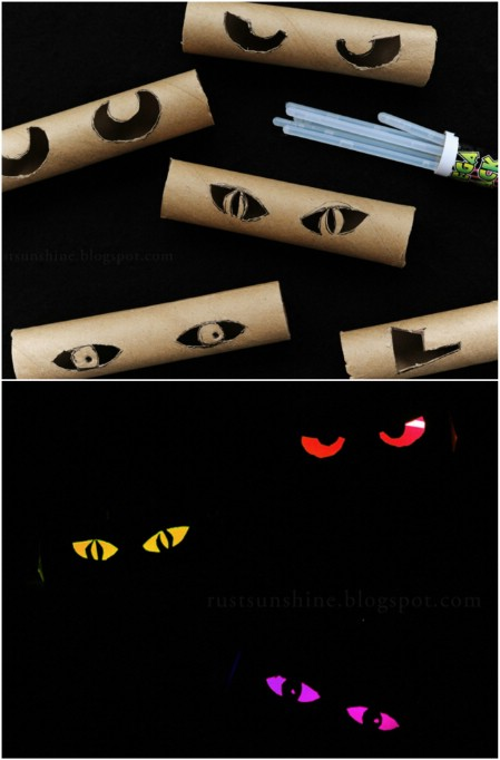 DIY Scary Halloween decorations - how to make creepy eyes in the bushes
