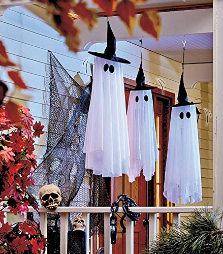 Set of 3 Spinning and Howling Spooky Halloween Ghost Haunted House Prop Porch Patio Decoration