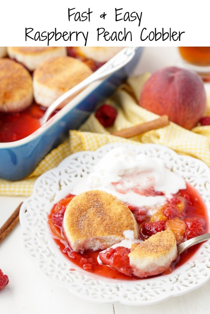 Super simple Raspberry Peach Cobbler Recipe - only takes 6 ingredients and 10 minutes.  Oh, and only 8 Weight Watcher points, too!  Win/Win!