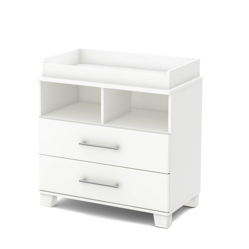 White baby changing table with drawers and room for baskets