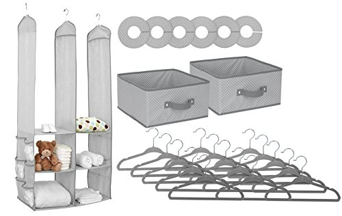 Recommended Baby Nursery Closet Organizer Set - available in grey, pink, and other colors