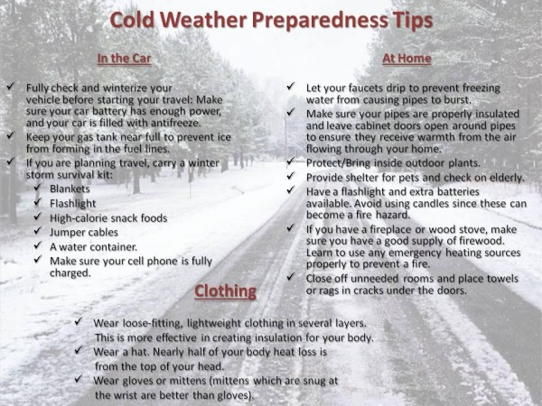 Cold winter weather safety tips - be prepared for cold weather