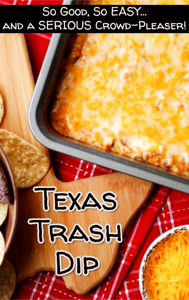 EASY party appetizer recipes that are crowd-pleasers. This Texas Trash Dip recipe is DELICIOUS - everyone will LOVE it!
