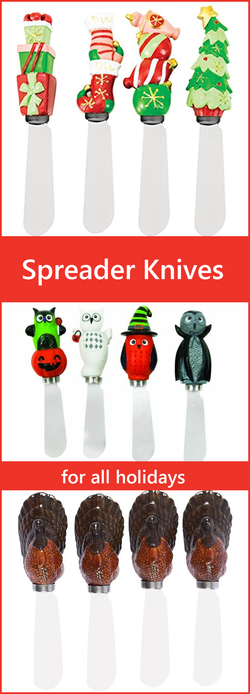 Butter Spreaders Cheese Knife Sets - Unique and fun for all holidays, parties, and more. Great gift idea.