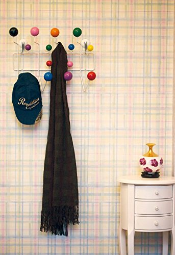 Love this bright-colored coat rack for the wall