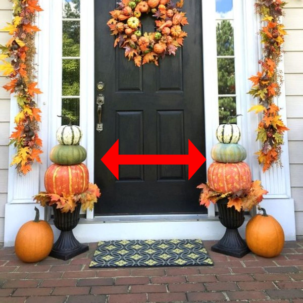 Stacking pumpkins for a Fall front porch