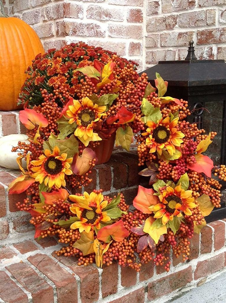 fall wreath with sunflowers for my front door