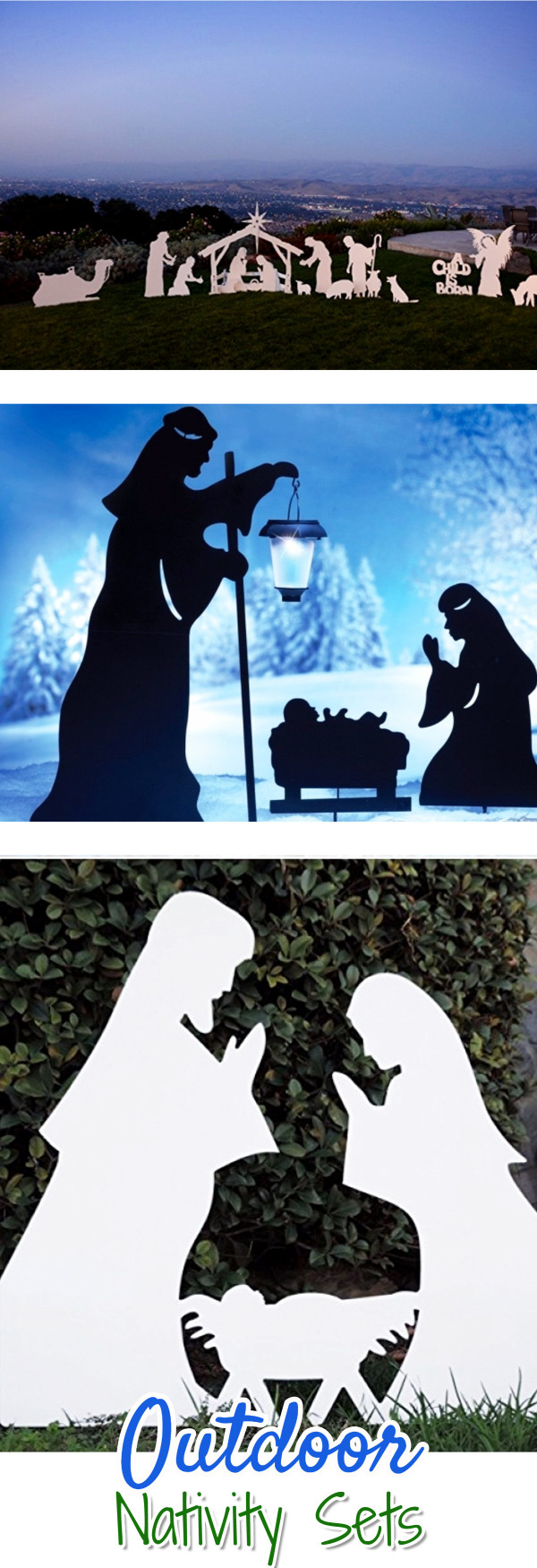Outdoor Nativity Scene Ideas for Your yard.  Decorate outdoors this Christmas with one of these gorgeous Outdoor Nativity Scenes