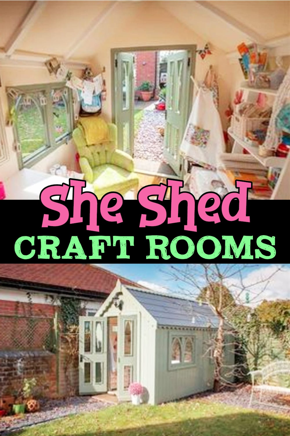 She Shed Ideas - Beautiful She Shed Ideas for a Backyard Retreat, Home Office or Craft Room - she sheds on a budget including she shed ideas interior - she shed ideas woman cave - She Shed Craft Room Ideas as well as she shed ideas interior craft rooms - beautiful DIY Backyard shed craft room ideas and shed office ideas! She Shed Pics, Images and Designs For The Perfect She Shed (or HE shed) - She Shed Cottage Office Ideas Pictures too!