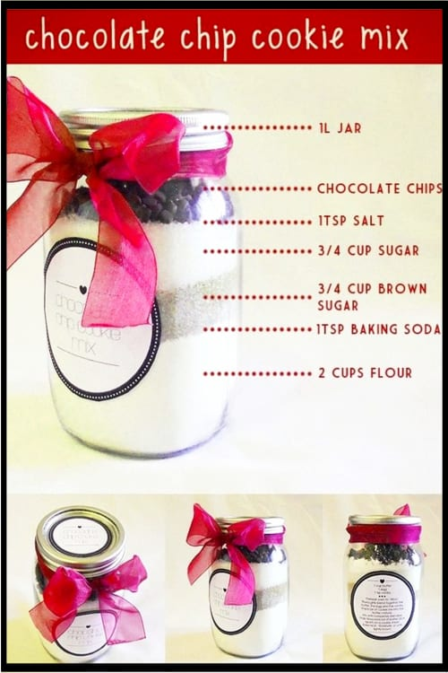 Mason Jar Christmas Gifts and Crafts - Easy Mason Jar Christmas Gift Ideas for Homemade Holiday Gifts for Neighbors, teachers, friends, co-workers and family. Easy DIY Christmas mason jars and Christmas mason jar decorating ideas - how to decorate mason jars for Christmas gifts - DIY Mason Jar Gifts and Cute Mason Jar Ideas For Christmas Presents - Mason Jar Chocolate Chip Cookie Mix in a Jar
