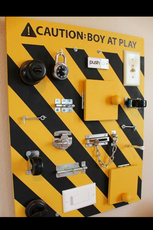 Sensory Boards Ideas!  Love this cute busy board /activity board - cute ideas for a baby boys first birthday!