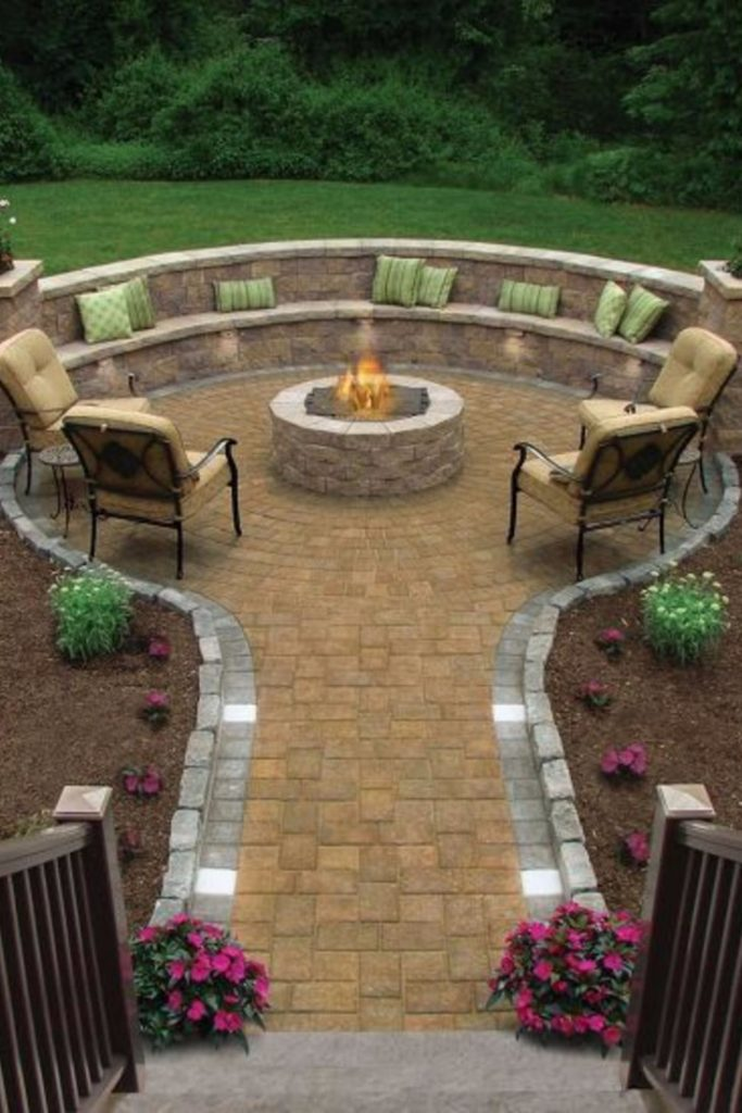 backyard patio fire pit design seating area