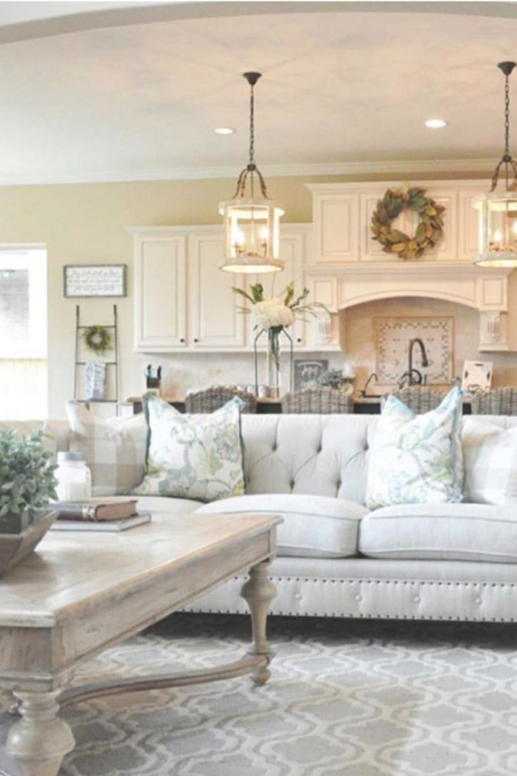 GORGEOUS Farmhouse living room decor ideas. Love the neutral colors used in the living room - it's just beautiful. More farmhouse living room decor ideas on this page.