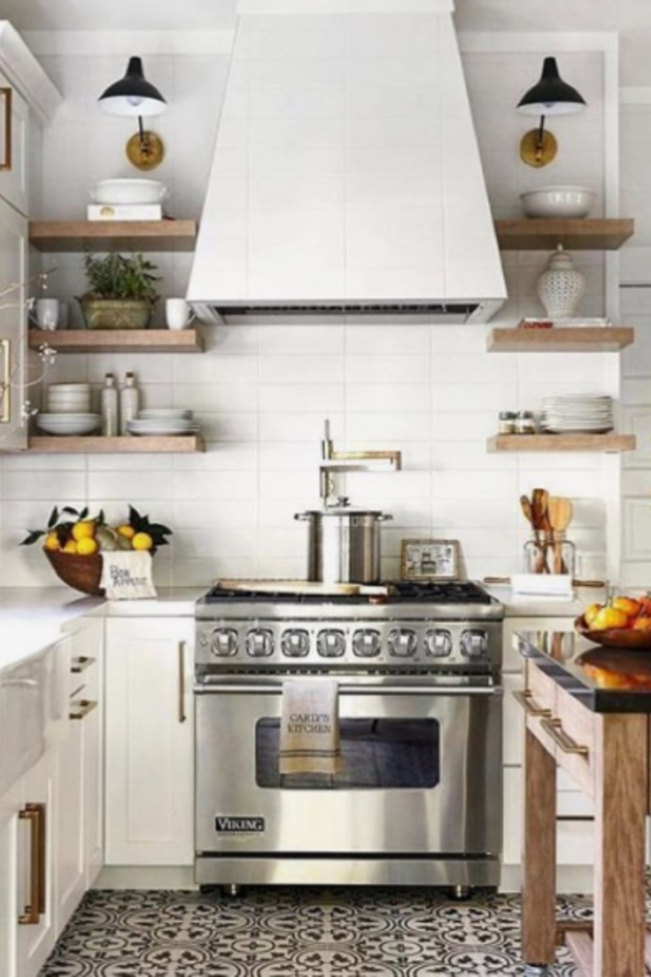 Subway tile idea for a small kitchen.  The bright white subway tiles really brighten up this small kitchen area!
