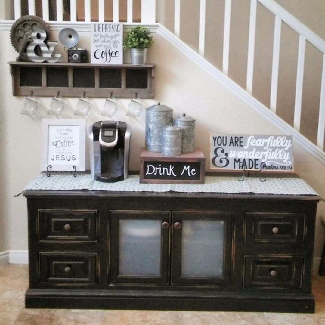 Coffee Nook • Coffee Area - Unique coffee nook beverage center DIY idea.  Love the antique table used for this coffee station!