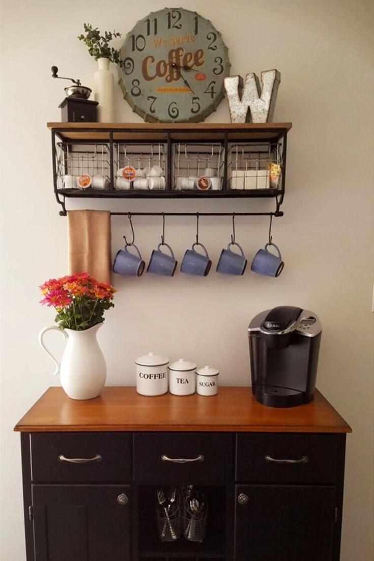 Coffee Nook - Coffee Area - Love this coffee nook idea - the wall shelf with baskets, the hanging mugs, the coffee/tea/sugar canisters, the Keurig coffee maker and that cabinet!