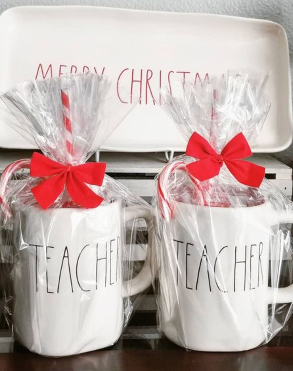 DIY gift idea for teacher at Christmas, (or even end of year  or for Teacher Appreciation Day with a different mug) Coffee Corner • Coffee Nook Ideas • DIY Coffee Station Ideas for Kitchen and Coffee Gifts - Unique coffee lover gifts
