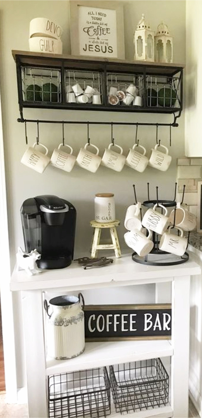 Coffee Corner • Coffee Nook Ideas • DIY Coffee Station Ideas for Kitchen and Coffee Gifts • Unique Coffee Gifts for Coffee Lovers