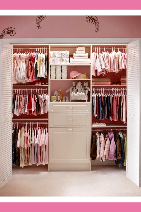 LOTS of Nursery Closet Ideas! This one is the Ultimate Nursery Closet for Baby Girl!  Lots of organizing options