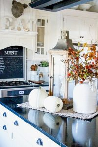 White Farmhouse Kitchens Decorated for Fall