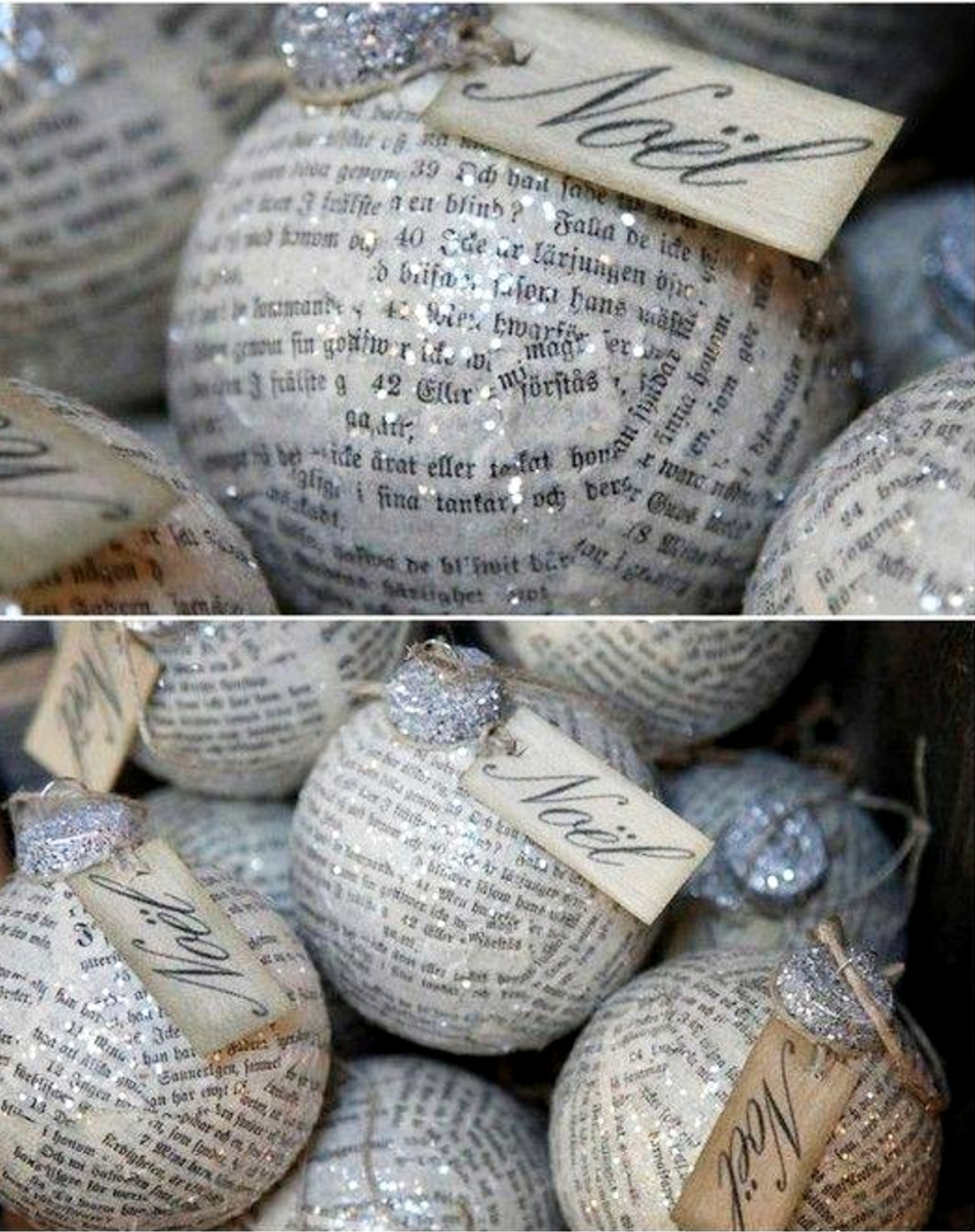 DIY Christmas ornaments for decoration of as homemade gifts -cut book pages into pieces, Mod Podge them onto ornaments, add silver glitter the cap, clear glitter on the paper and add a pretty tag - GORGEOUS!