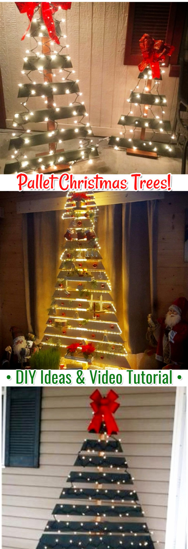 DIY Pallet Christmas Tree Ideas - We Tried It!  Make a Christmas tree from old pallets (tutorial video too)... painted ideas, with lights, decorated, indoors and outdoors ideas for front porches at Xmas.