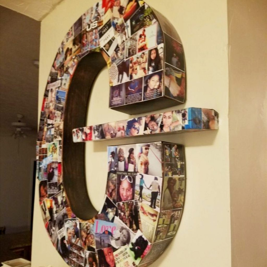 DIY Letter Picture Collages Ideas and video tutorial instructions showing how to make a letter photo collage
