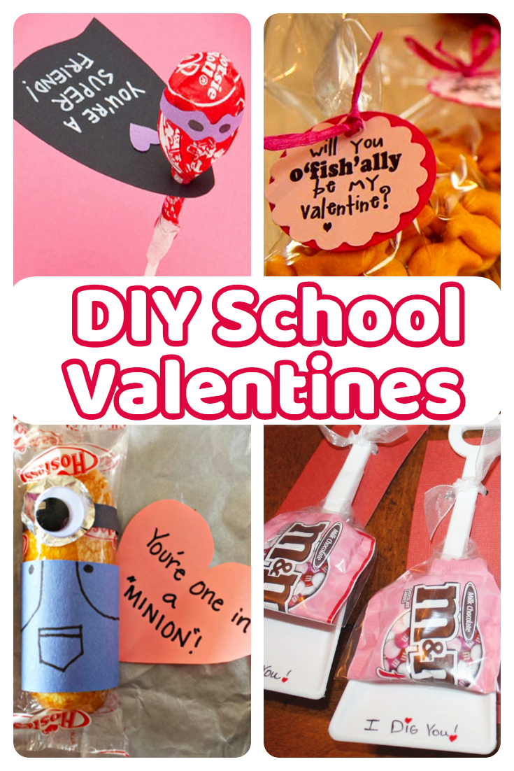 DIY School Valentines - cute ideas for the classroom, for teachers, for other students - cute treats and DIY valentines Day cards for the class for kids to make - Valentines Day crafts and DIY Valentine cards for kids  style=