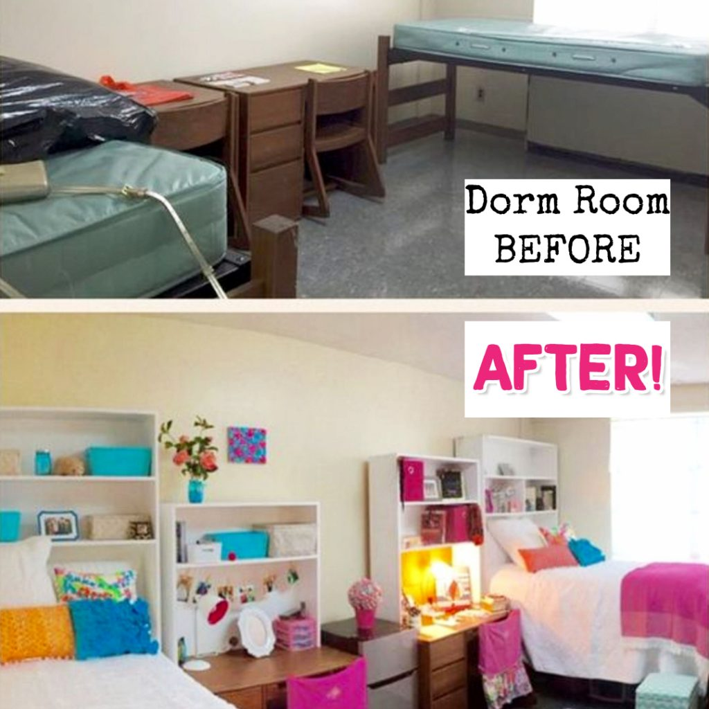 Dorm room ideas - before and after decorating my college dorm room this year #dormroomideas #gettingorganized #goals