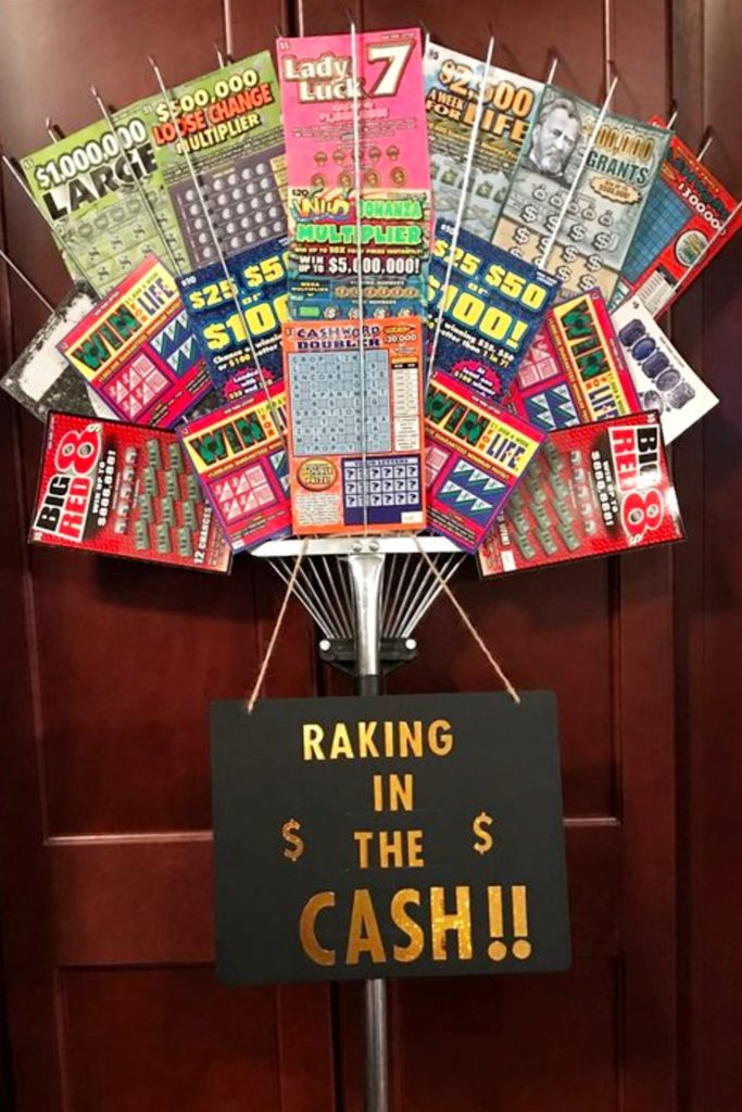 Creative ways to give cash as a gift - lotterly ticket gift ideas - Also creative raffle basket ideas and silent auction gift basket ideas for fundraising fundraiser events