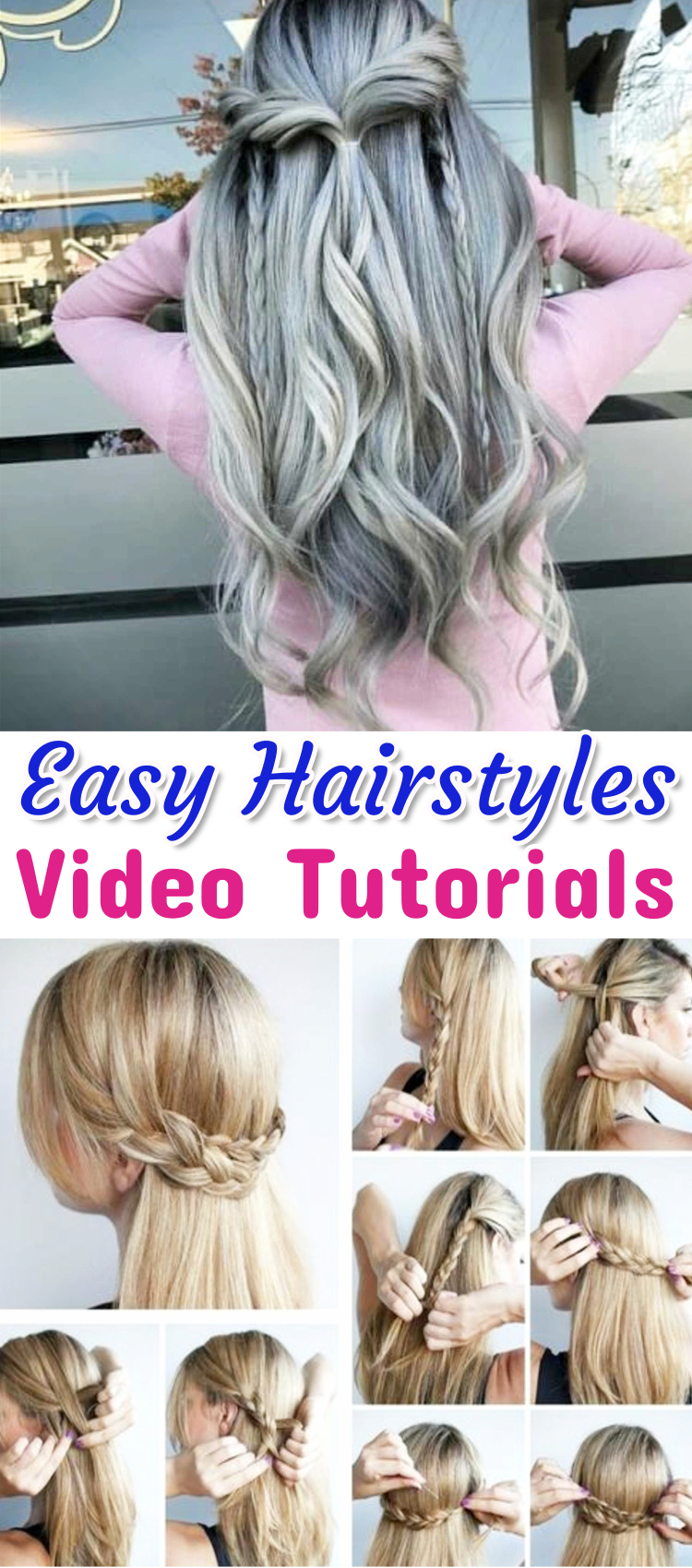 Lazy Hairstyles - Easy hairstyle ideas video tutorials - easy step by step instructions - lazy hairstyles of medium hair, long hair, short hair, for work, for school or just simple messy hairstyles for lazy days (great for beginners)