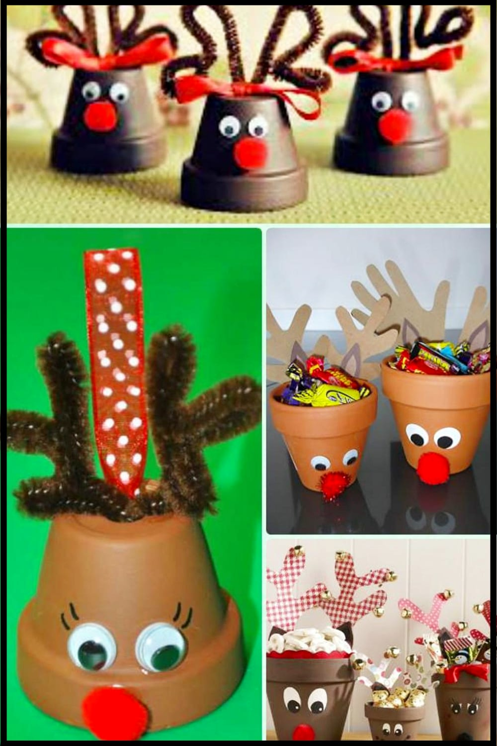 DIY Christmas decor and craft project ideas - clay pots decorated for Christmas