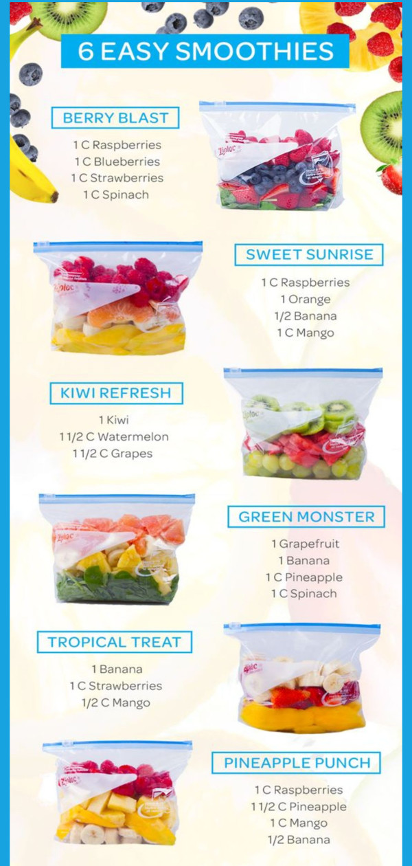 Easy smoothie recipes - make ahead smoothie packs you can put in the freezer