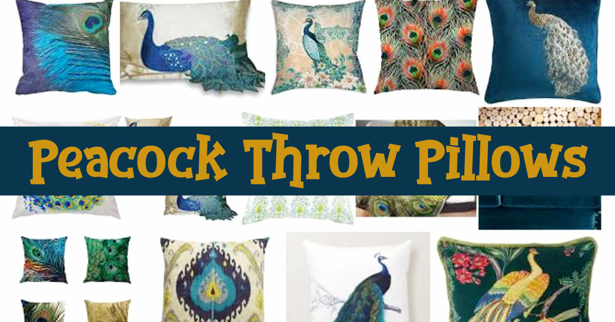Peacock Decor ideas with Peacock throw pillows, teal blue, turquoise & purple colored pillows, embroidered peacock pillows and more decorative peacock pillows with a peacock design - velvet, silk and feather peacock pillows and pillow covers too that you can find at Target, Pier One, Amazon, Walmart etc to go with peacock rugs and your peacock decorations at home. Fun peacock blue home accessories!