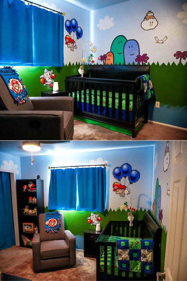 baby boy nursery theme ideas for small spaces - this unique baby boy room is a cartoon theme with bright primary colors and creative DIY wall decor - perfect abby boy room ideas for small spaces