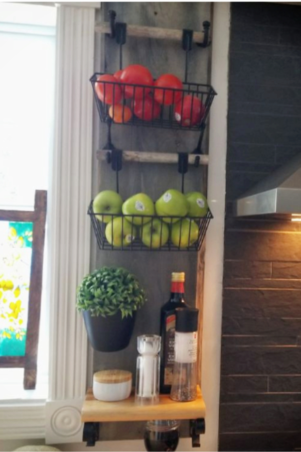 wall baskets storage for kitchen organization and more counter space - wall hanging fruit baskets DIY ideas