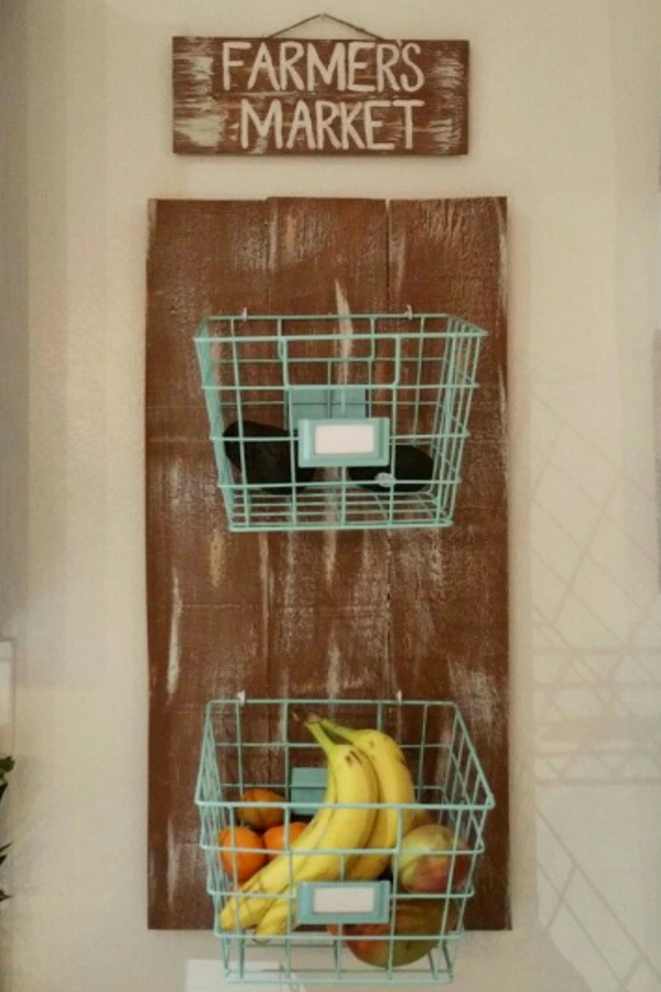 wall fruit basket for vegetable and fruit storage in your kitchen - DIY tutorial and ideas