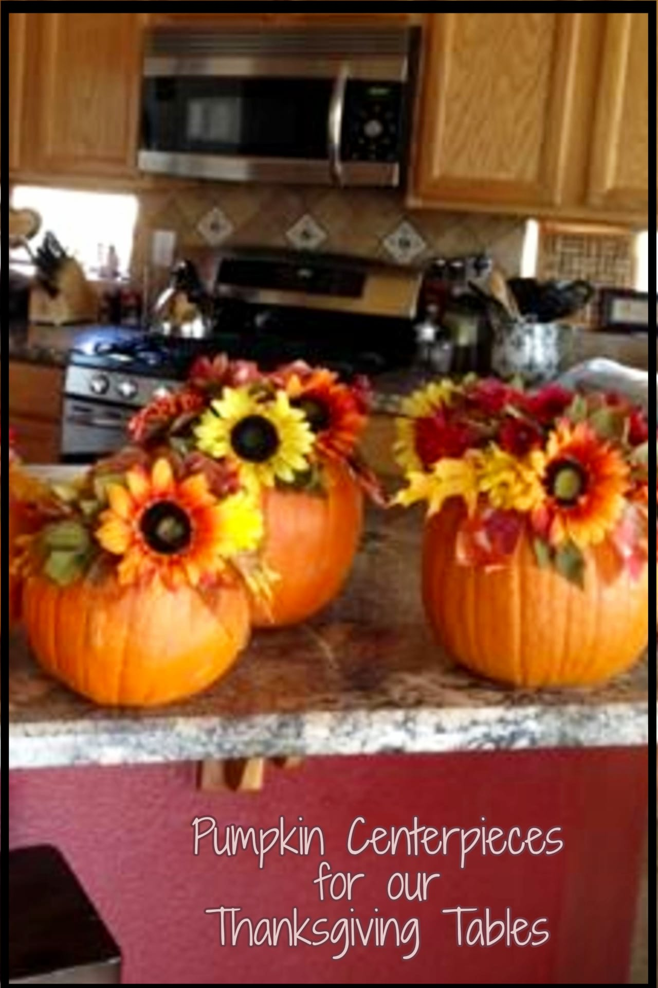 Simple pumpkin centerpieces ideas for your Thanksgiving table setting or Fall decor for the home.  DIY fall pumpkin centerpieces for a Fall wedding, Thanksgiving dinner both rustic and elegant with sunflowers!